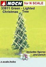 """NOCH 33911 N Scale Green Lighted Christmas Tree 2""""-Tall Figures NEW $0 Shipping"""