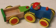 Selecta Tratorino 1604 Trecker mit Lenkung und Anhänger Traktor Holz