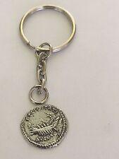 Denarius Of Hadrian Coin WC65 Fine English Pewter on A Split Ring Keyring