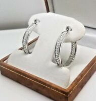 Genuine Sterling Platinum finish Hoop created diamond channel set earrings NEW
