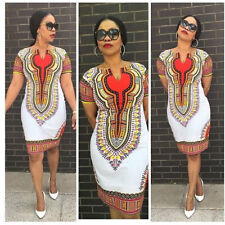 New Women Traditional African Print Dashiki Bohemia Bodycon Short Sleeve Dress