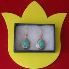 BEAUTIFUL 925 SILVER & BRONZE EARRINGS WITH TURQUOISE & TOPAZ 4.5 CM.LONG IN BOX