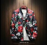 Fashion Mens Slim Casual Printed Jacket Bomber Stand Collar Coats Outwear yoooc