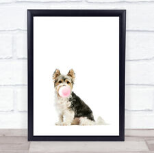Dog Biewer Terrier Bubblegum Wall Art Print