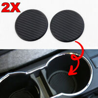 2Pcs Black Car Auto Water Cup Slot Non-Slip Carbon Fiber Look Mat Accessories