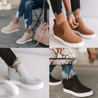 Women's Platform Hidden Heel Wedge Loafers Sneakers Slip On Trainer Casual Shoes