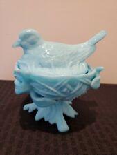 Bird on Nest Avon 1705 Covered Milk Glass Candy Dish