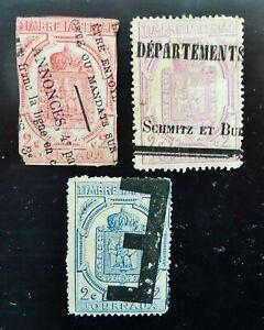 timbres pour journaux 2 cts rose carminé, violet, bleu