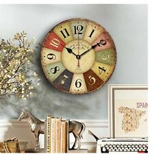 Antique Clock Wall Rustic Vintage Style Wooden Round Clocks Large Art Home Deco