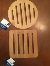Trueliving 2 Piece Bamboo Round/Square Table Trivet Set