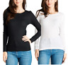 Women  Basic Thermal Long Sleeve  Solid Waffle Knit  T-Shirt Top PLUS(1XL-3XL)