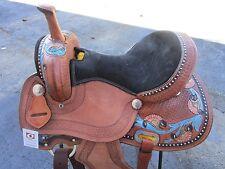 15 16 USED BARREL RACING BLUE PLEASURE TRAIL TOOLED LEATHER WESTERN HORSE SADDLE