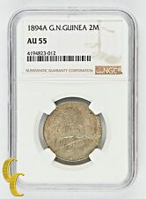1894 A German New Guinea 2 Mark, NGC AU 55, Low Mintage 13,000! KM# 6
