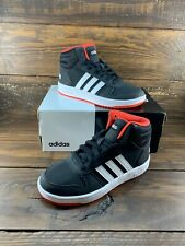 Adidas Hoops 2.0 Mid B75743 Black Red White Running Boys Shoes Lace Up- NEW