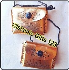 Holy-Quran GOLD(2)Leather-Pouch-Car-Hanging-Ramadan Islamic Gifts-US Seller