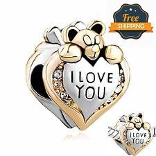 Pandora I Love You Bear Bracelet Bead Charm Silver Mum Mother Daughter Wife Gift
