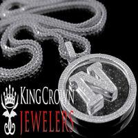 """Genuine Diamond Initial Letter Alphabet """"N"""" Pendant +Chain 10K White Gold Finish"""
