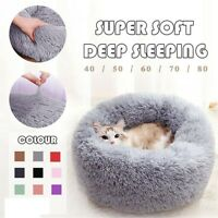 Dog Round Cat Winter Warm Sleeping Kennel Long Plush Soft Pet Bed Calming Bed