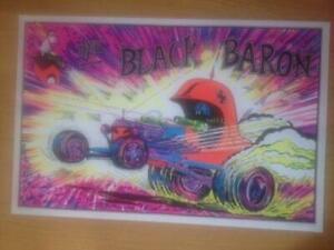 The Black Baron Original Silkscreened 1970s Black Light Poster  23 x 35