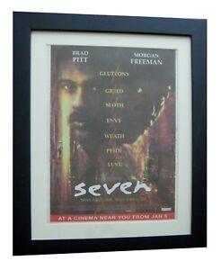 SEVEN+Movie+Film+BRAD PITT+POSTER+AD+RARE+ORIGINAL 1996+FRAMED+FAST GLOBAL SHIP