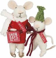 Primitive Christmas Felt Betty and Clara 2 pc  Mice FREE SHIPPING