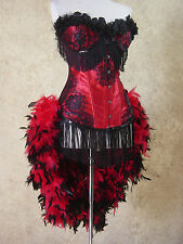 L-Red/Black Rose Lolita Showgirl Saloon Moulin Burlesque Pin Up Costume Feather