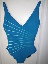 Gottex 12RL158 Ray of Light V-Neck Tank 1PC Swimsuit Cadeblue 10  MSRP $118