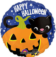 "HALLOWEEN PARTY SUPPLIES BALLOON 17"" HALLOWEEN BLACK CAT HAPPY HALLOWEEN BALLOON"