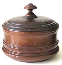 Antique Hand Made Turned Walnut Wood Trinket Keepsake Storage Box Covered W/Lid