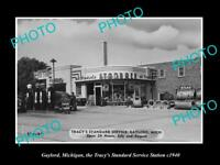 OLD LARGE HISTORIC PHOTO OF GAYLORD MICHIGAN, THE TRACYS SERVICE STATION c1940