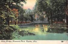 TOPEKA, KS Kansas     VINEWOOD PARK    Stone Bridge & Pond    1910 Postcard