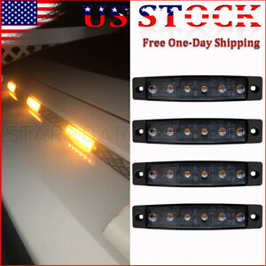 4x Amber LED Grilles Grille Lights Bumper Marker Decoration Light Kit