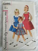 Vintage 60s Simplicity 5091 Girl Size 8 Jumper and Blouse Sewing Printed Pattern