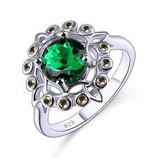 Flower Gorgeous Lover Gift Dating Silver Ring Emerald Quartz & Peridot Gemstone