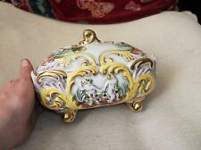 OLD ART POTTERY GILDED GLAZED DISH & LID ON FEET CHERUBS ADAM EVE ELPA ALCOBACA