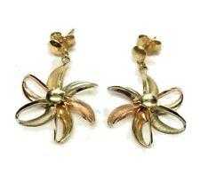 14K Solid Tri-Color Gold Pinwheel Dangle Earrings (2.8 grams)