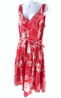 PHASE EIGHT RED FLORAL SLEEVELESS A LINE MIDI SUMMER DRESS SIZE UK 12 10482