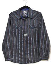 Wrangler Rock 47 Womens Western Blue Pearl Snap Long Sleeve Shirt Size Large NWT
