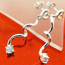 EARRINGS STUD 925 STERLING SILVER S/F DIAMOND SIMULATED LONG TWIST DROP DESIGN