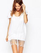SEAFOLLY WOMENS Starlight Macrame Knot Fringe Boho Kaftan Dress Cover-up L White