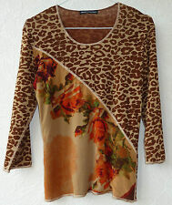 Langarm Shirt 38 NiceConnection doppellagig Netzstoff Animalprint Rosenmuster