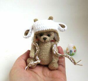 Miniature crochet teddy bear in sheep hat, Handmade Easter gift 3 ½ in