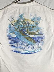 Guy Harvey AFTCO Vintage Marlin Boat Mens T-shirt Large Short Sleeve