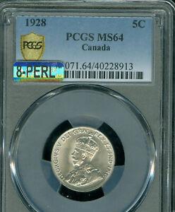 1928 CANADA 5 CENTS PCGS MS64 PQ MAC 8-PERL 1ST STRIKE SPOTLESS  *