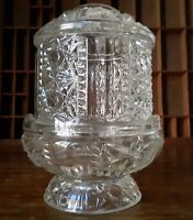 "Fairy Lamp Stars & Bars 6.5"" Heavy Vtg Indiana Glass"