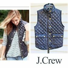 J Crew Shiny Quilted Field Down Puffer Vest Womens Xxs Navy Blue C9300