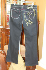 BABY PHAT JEANS PANTS JUNIORS SIZE 13 BLACK FAITH WITH A CROSS ON POCKET BLING