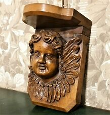 Angel cherub wood carving corbel bracket Antique french architectural salvage