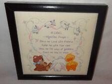 New Baby Prayer Christian Nursery Bless Me Lord Finished Cross Stitch  U.S.A.