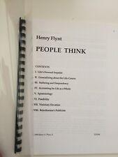 Henry Flynt People Think 1998 Fluxus Philosophie Musique